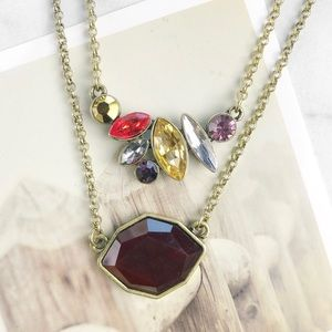 Red and amber pendant necklace